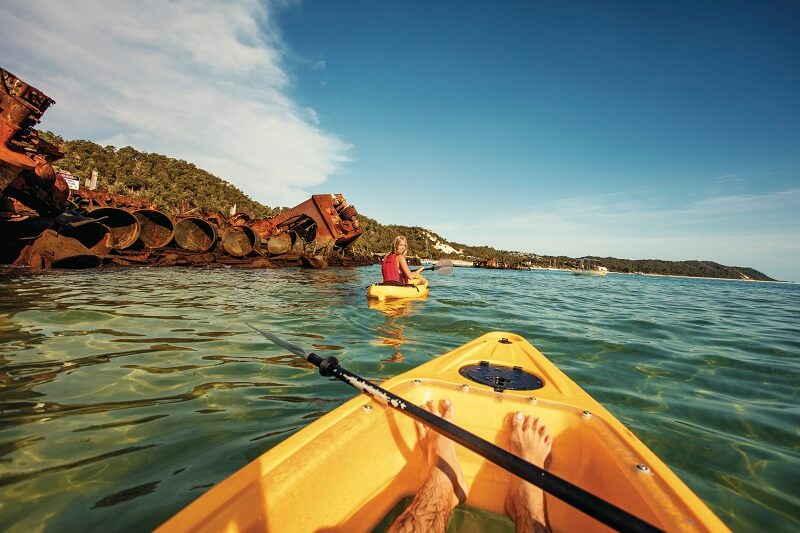 kayaking at moreton island
